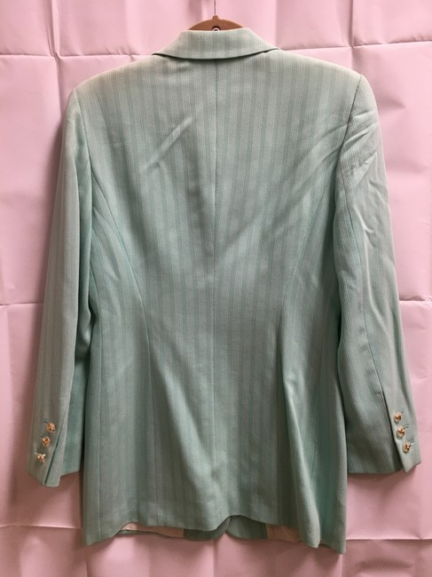 Escada White Stitch Stripe Clear/Gold Buttons Wool Blend Lined Light Green Blazer Image 6