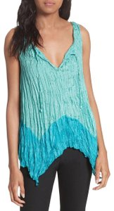 Tracy Reese Silk Crinkle Top Turquoise