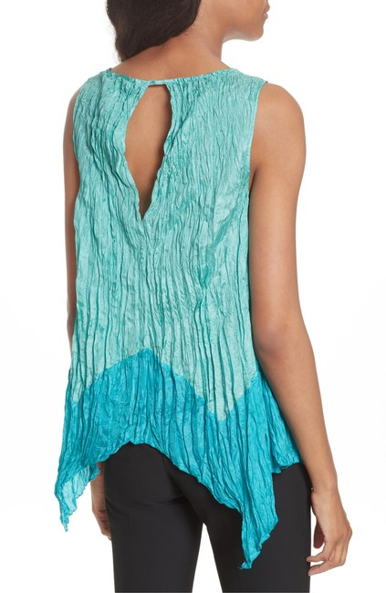 Tracy Reese Silk Crinkle Top Turquoise Image 1