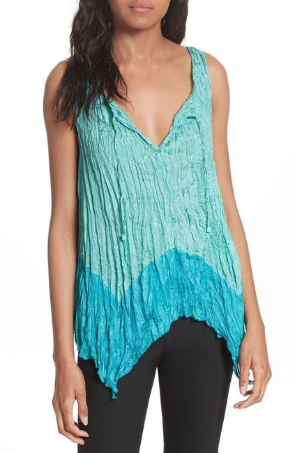 Tracy Reese Silk Crinkle Top Turquoise Image 2