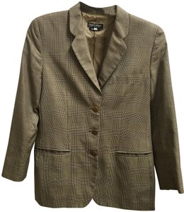 Giorgio Armani 3 Front Pockets Long Sleeved Wool Silk Blend Made In Italy Brown Plaid Blazer