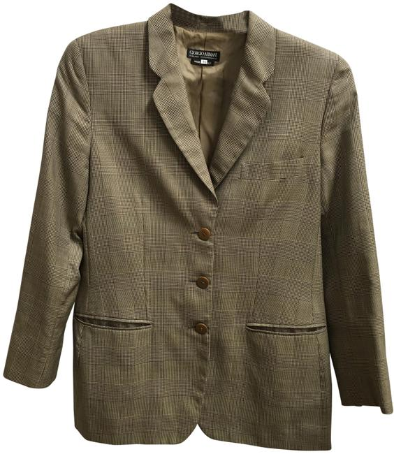 Giorgio Armani 3 Front Pockets Long Sleeved Wool Silk Blend Made In Italy Brown Plaid Blazer Image 0