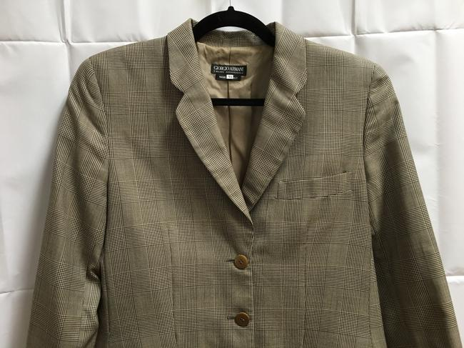Giorgio Armani 3 Front Pockets Long Sleeved Wool Silk Blend Made In Italy Brown Plaid Blazer Image 1