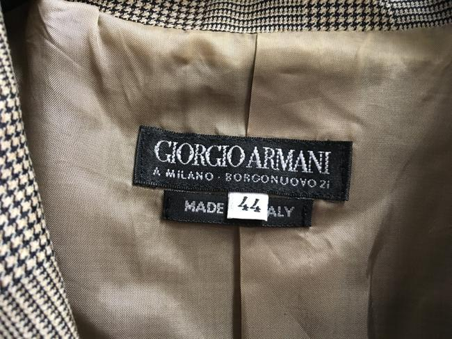 Giorgio Armani 3 Front Pockets Long Sleeved Wool Silk Blend Made In Italy Brown Plaid Blazer Image 2