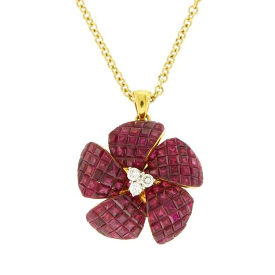 unbranded 14K Yellow Gold 0.16 CT Diamonds 10.54 CT Invisible Set Ruby Necklace Image 1