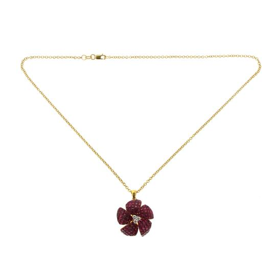 unbranded 14K Yellow Gold 0.16 CT Diamonds 10.54 CT Invisible Set Ruby Necklace Image 2