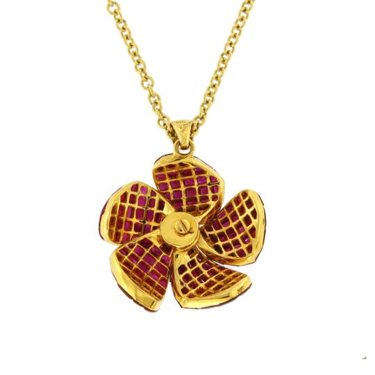 unbranded 14K Yellow Gold 0.16 CT Diamonds 10.54 CT Invisible Set Ruby Necklace Image 4