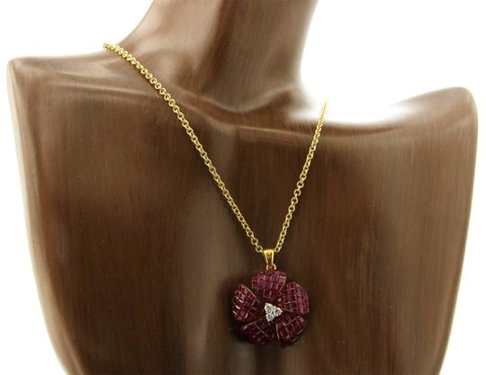 unbranded 14K Yellow Gold 0.16 CT Diamonds 10.54 CT Invisible Set Ruby Necklace Image 5