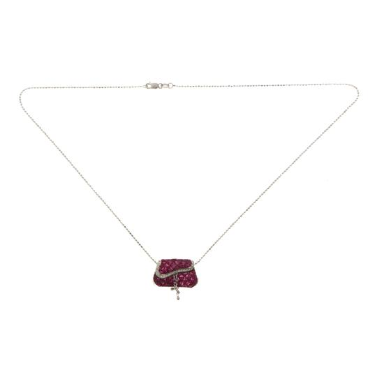 unbranded 18K Gold 0.11 CT Diamonds 606 CT Invisible Set Ruby Purse Necklace Image 2