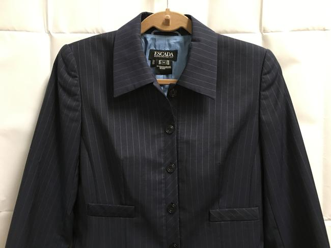 Escada Pin Striped Wool Logo On Buttons Lined Navy Blue Blazer Image 1