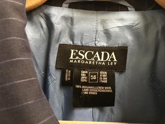 Escada Pin Striped Wool Logo On Buttons Lined Navy Blue Blazer Image 2