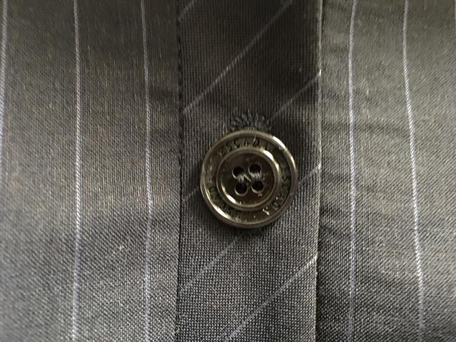 Escada Pin Striped Wool Logo On Buttons Lined Navy Blue Blazer Image 3