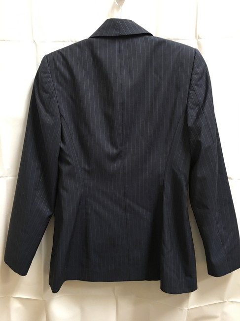 Escada Pin Striped Wool Logo On Buttons Lined Navy Blue Blazer Image 6