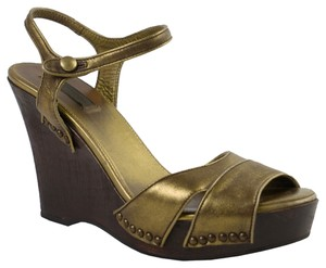Prada Gold/Pewter Wedges