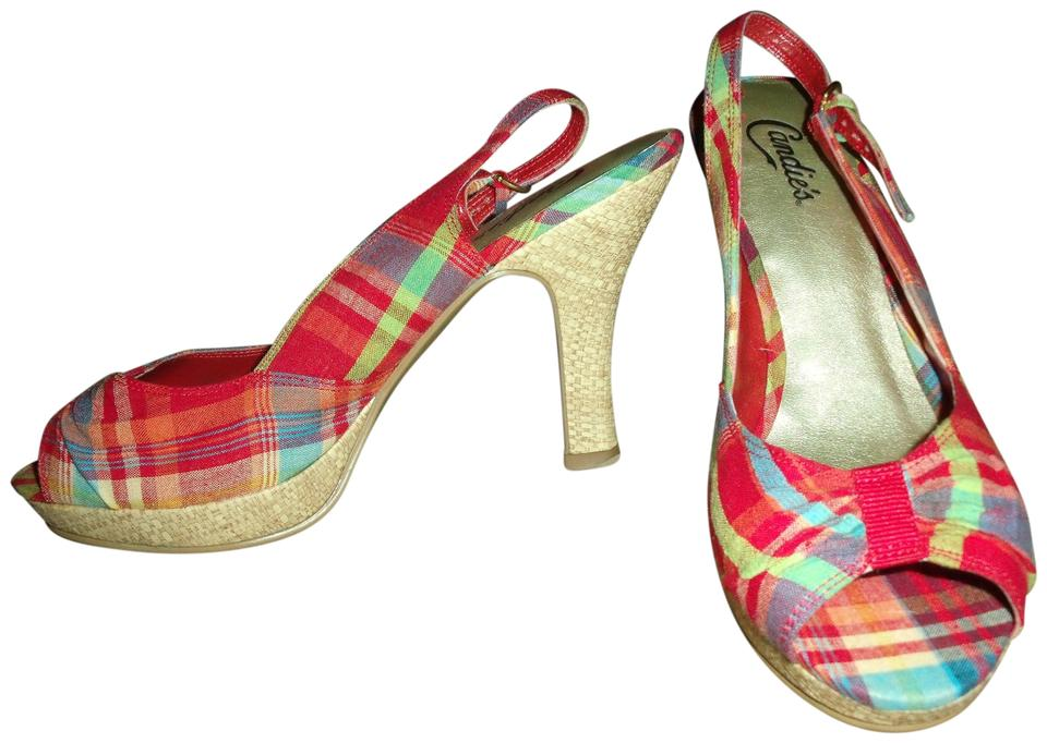 bad467d811bee Candie's Plaid Open Toe Slingback 1950's Pin Up Model Red Pumps Image 0 ...