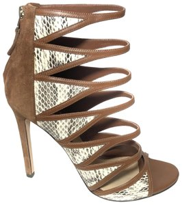 B Brian Atwood Strappy Cage Snakeskin Open Toe Sandal Brown Pumps