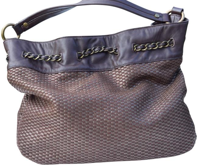 Item - Straw Brown Woven Wicker & Leather Hobo Bag