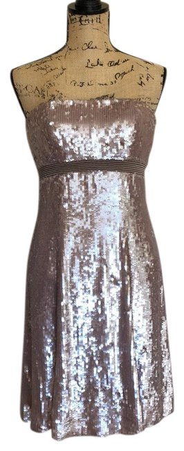 Item - Taupe All Over Sequin Strapless Short Formal Dress Size 6 (S)