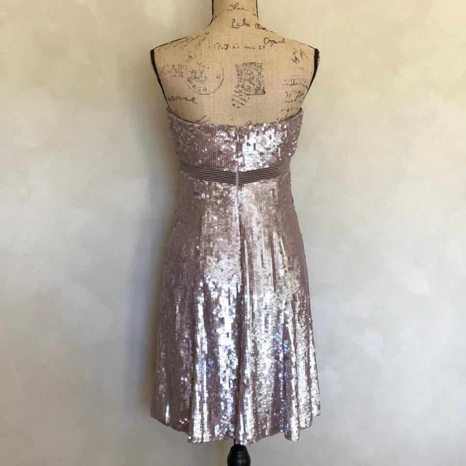e529dbc4eb1cc Badgley Mischka Taupe All Over Sequin Strapless Short Formal Dress Size 6  (S) - Tradesy
