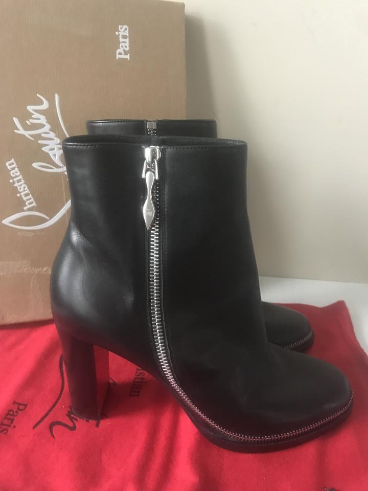 on sale a7ea0 b0de9 Christian Louboutin Black Telezip 85 Leather Chain Ankle Heels  Boots/Booties Size EU 37.5 (Approx. US 7.5) Regular (M, B) 14% off retail