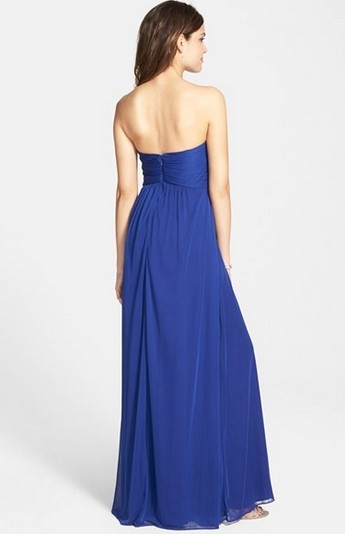La Femme Blue Chiffon Jersey Beaded Strapless Gown Formal Bridesmaid/Mob Dress Size 4 (S) Image 1