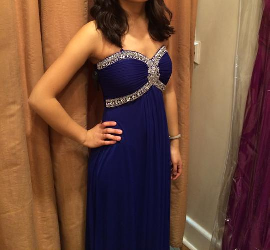 La Femme Blue Chiffon Jersey Beaded Strapless Gown Formal Bridesmaid/Mob Dress Size 4 (S) Image 2