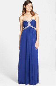 La Femme Blue Beaded Jersey Strapless Gown Dress