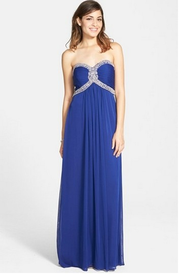 La Femme Blue Chiffon Beaded Jersey Strapless Gown Formal Bridesmaid/Mob Dress Size 4 (S)