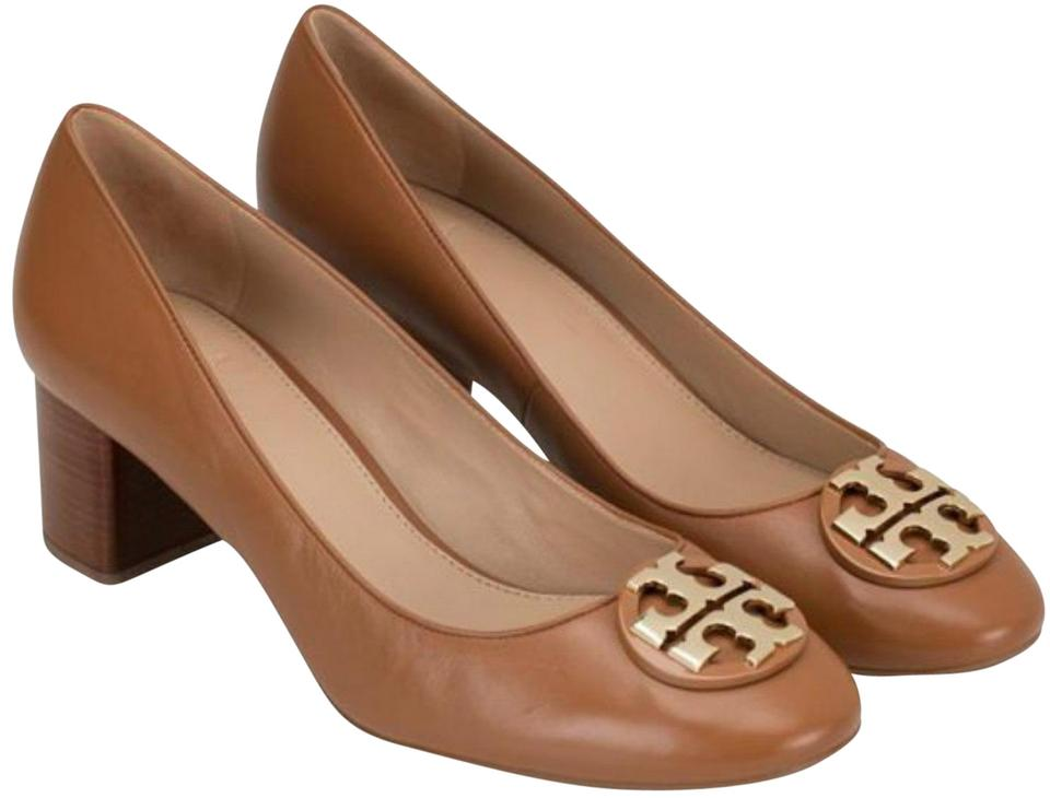 a165d35ad6 Tory Burch Royal Tan Gold Janey 50mm Calf Leather Pumps Size US 7 ...