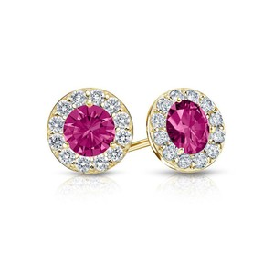 DesignerByVeronica September Birthstone Created Pink Sapphire and CZ Halo Stud Earrings 1