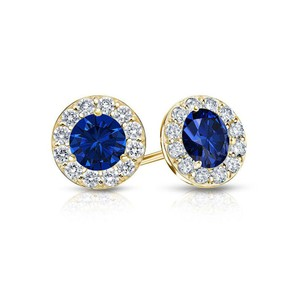 DesignerByVeronica September Birthstone Sapphire and CZ Halo Stud Earrings 18K Yellow Gol