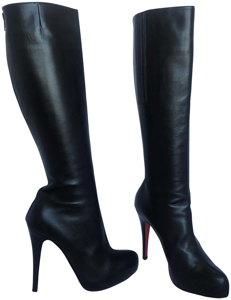 18fbf9cfd08 Christian Louboutin Black 35.5it Platform Daf Heel Alti Lady Fashion Red  Sole Leather Knee High Boots Booties