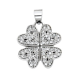 TD Collections 14K White Gold Four Hearts CZ Pendant