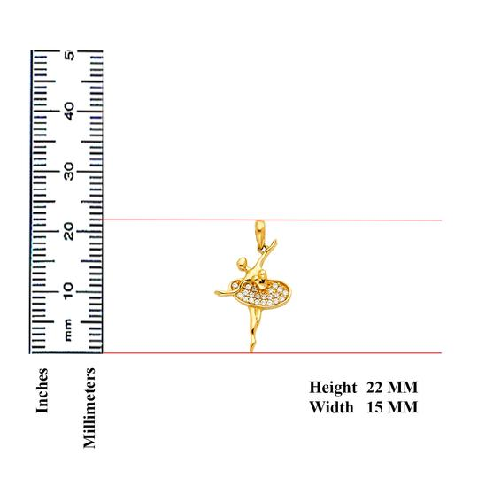 TD Collections 14K Yellow Gold Ballerina CZ Pendant Image 1