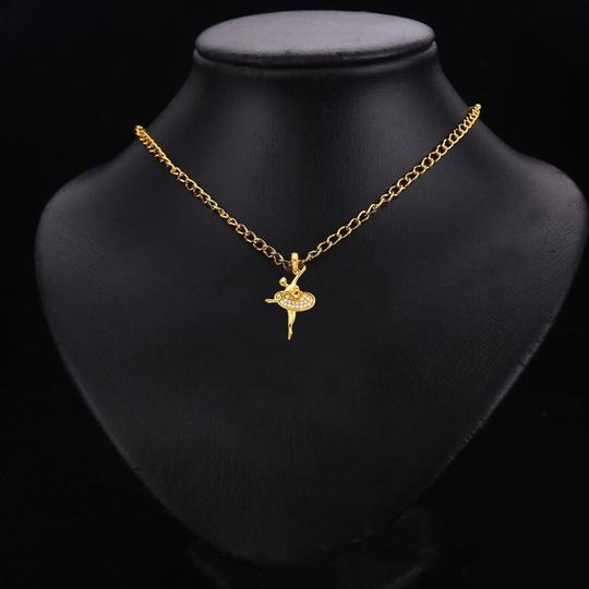TD Collections 14K Yellow Gold Ballerina CZ Pendant Image 2