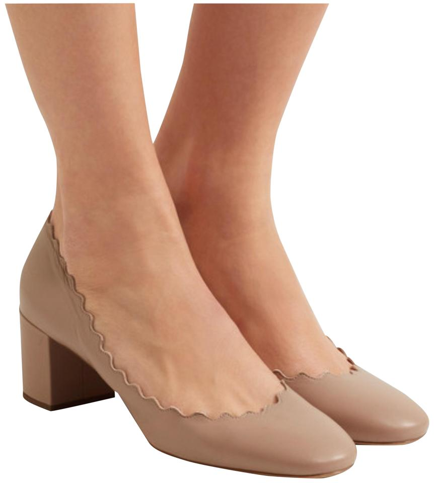 bf4285d057 Chloé Nude Scalloped Leather Block Heel Pumps Size EU 38 (Approx. US ...