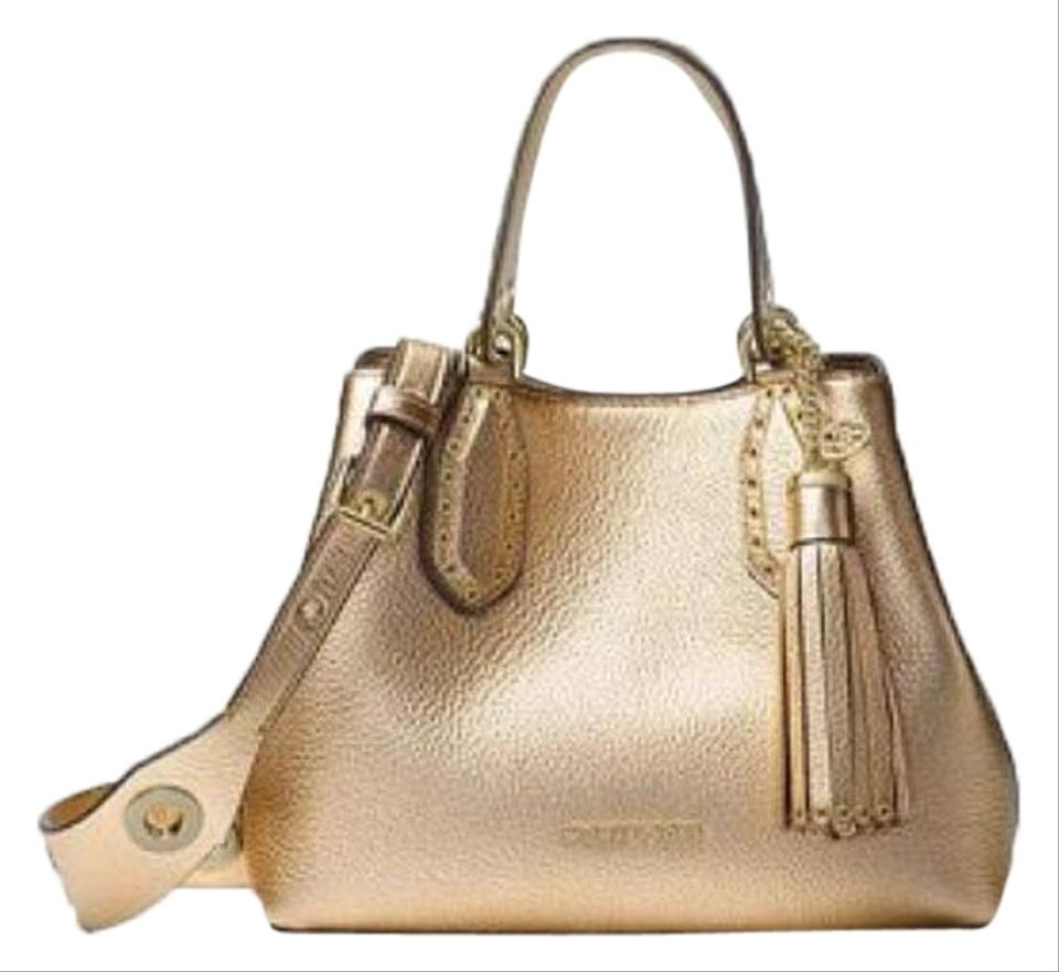 39ac5afee Michael Kors Brooklyn Small Gold Leather Satchel - Tradesy