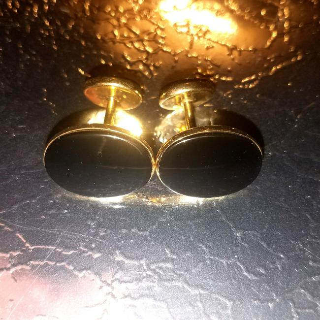 Item - Black and Gold 14k Classy Cufflinks/Studs