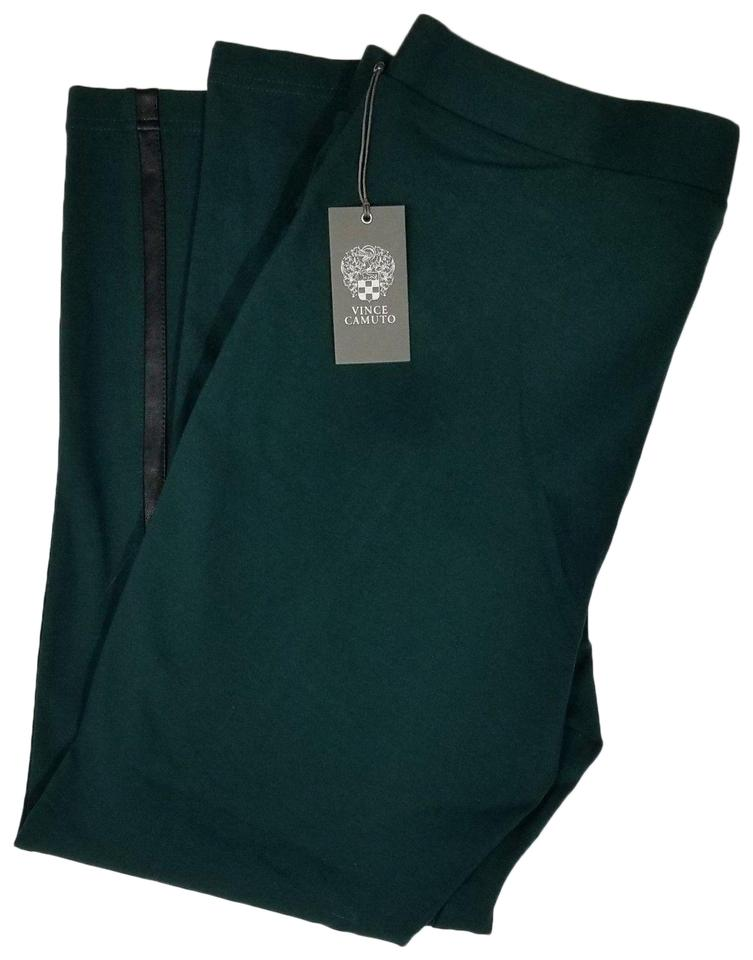 63f6eb03db27b Vince Camuto Green Skinny Stretch Faux Leather Panel In Dark Cypress ...