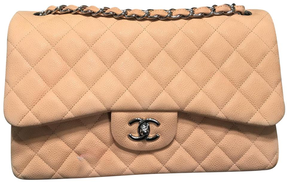 e04129b56d427f Chanel Classic Jumbo Double Flaps Caviar Salmon Beige Suede Leather Satchel