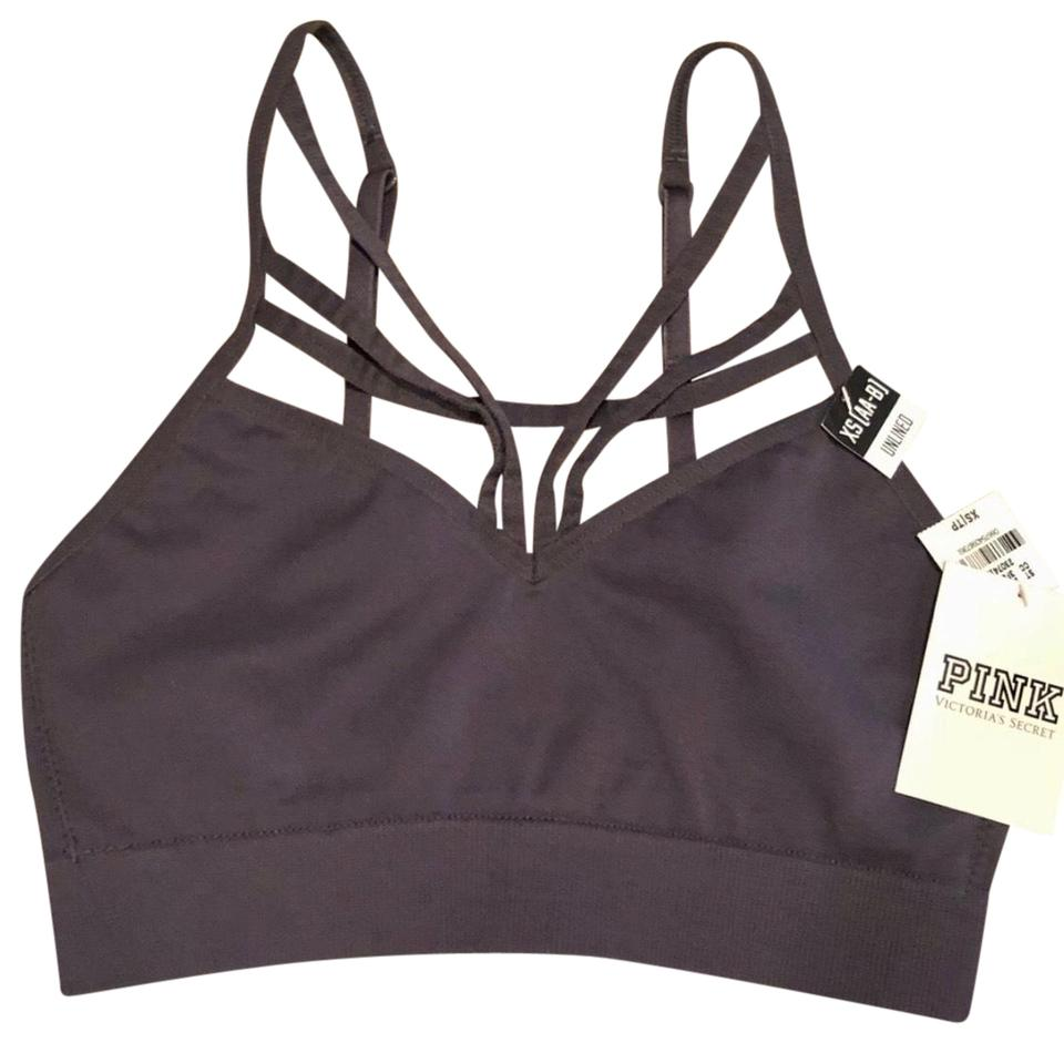 109c6bc3c3054 PINK Gray Victoria s Secret Unlined Strappy Bralette Activewear Sports Bra