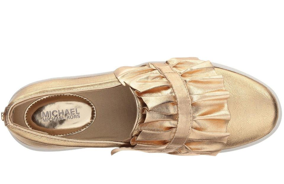 b0244e91ea92 Michael Kors Pale Gold Bella Ruffled Embossed Leather Slip-on Sneaker  Sneakers Size US 8 Regular (M