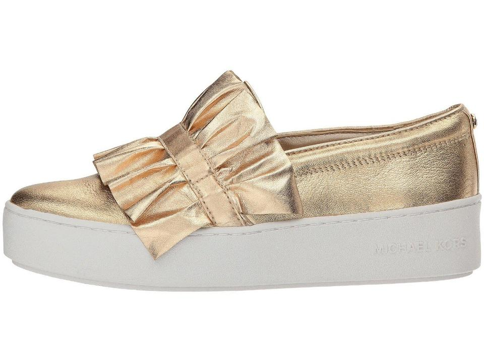d4a5a6cec31f Michael Kors Pale Gold Bella Ruffled Embossed Leather Slip-on ...