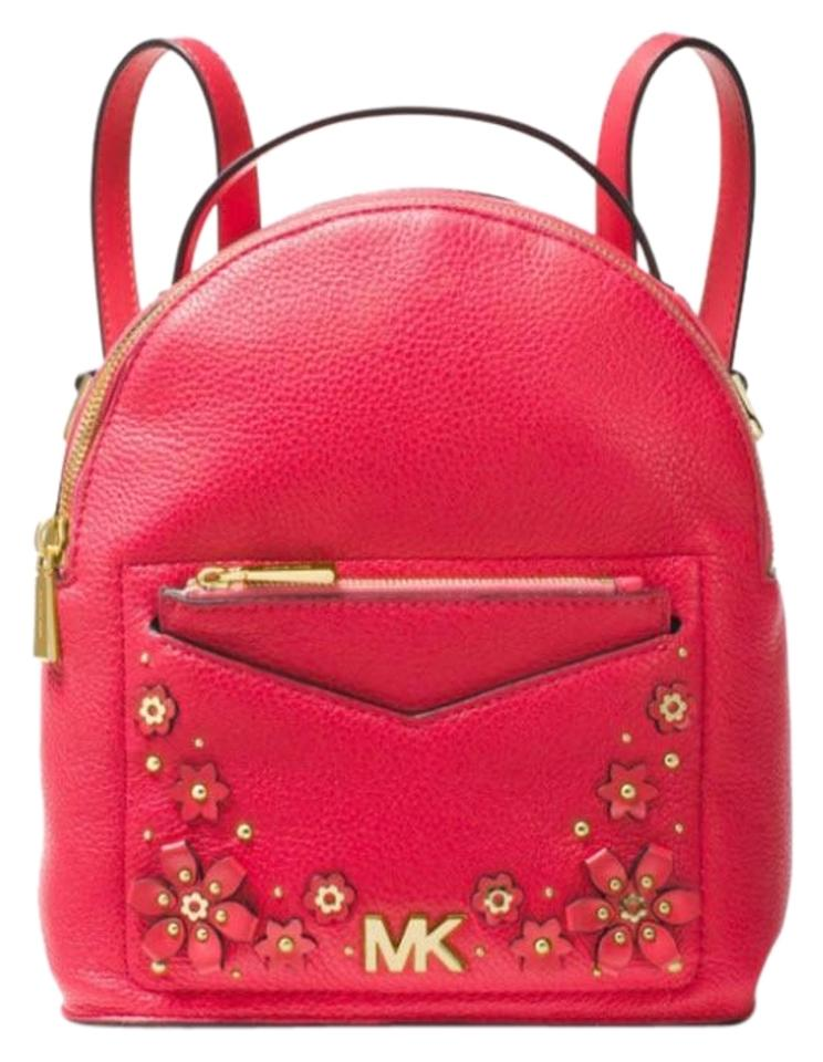 226528278990 Michael Kors Jessa Small Floral Embellished Convertibl Red Leather ...