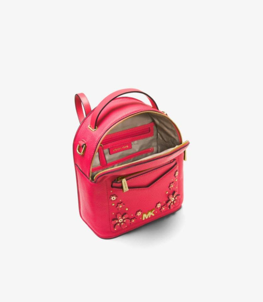 76d3c391e52d Michael Kors Jessa Small Floral Embellished Convertibl Red Leather Backpack  - Tradesy