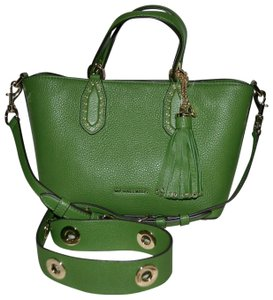 Michael Kors Leather Tassel Rivets Satchel in Green