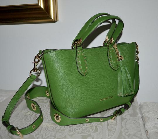 Michael Kors Leather Tassel Rivets Satchel in Green Image 1