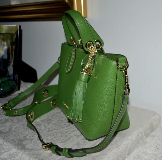 Michael Kors Leather Tassel Rivets Satchel in Green Image 2