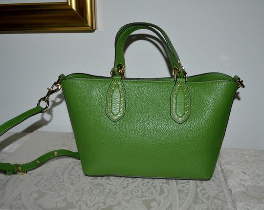 Michael Kors Leather Tassel Rivets Satchel in Green Image 3