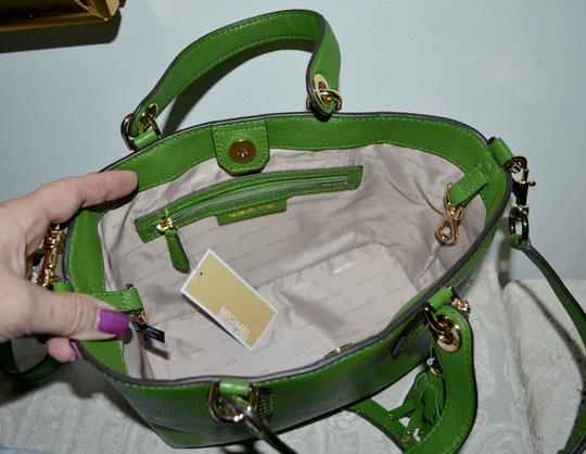 Michael Kors Leather Tassel Rivets Satchel in Green Image 5